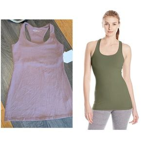 BEYOND YOGA Purplish Gray Racerback Long Tank Top